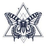 黑色蝴蝶例证查出对象纹身花刺向量白色 Dotwork纹身花刺 形象艺术 在三角,几何的蝴蝶 自由,自然,空气的神秘的标志 库存例证