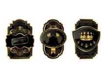 黑色装饰框架金子 库存例证