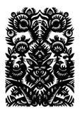 黑色装饰花卉模式 免版税库存照片