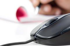 黑色计算机老鼠爪文字 库存图片