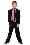 黑色诉讼的英俊的男孩 免版税库存图片