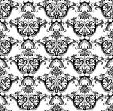 黑色豪华无缝的墙纸白色 免版税库存图片