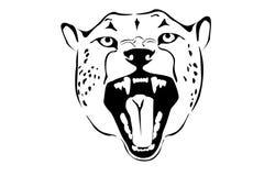 黑色豹子纵向白色 免版税库存照片