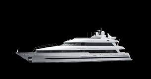 黑色超级游艇 免版税图库摄影