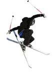 黑色跳接器滑雪白色 图库摄影