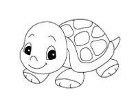 黑色逗人喜爱的乌龟白色 免版税库存照片