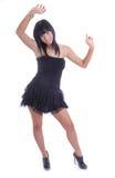 黑色逗人喜爱的礼服女孩年轻人 免版税库存照片