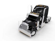 黑色重型卡车 免版税库存图片