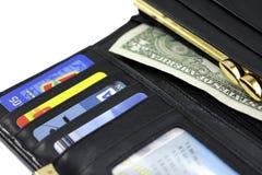 黑色钱包 免版税图库摄影