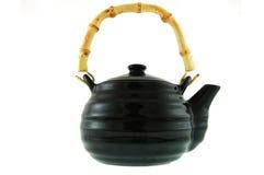 黑色陶瓷茶壶 免版税库存图片