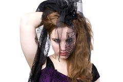 黑色面纱的Goth妇女 库存图片