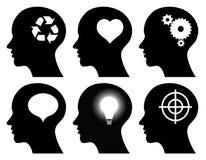 黑色顶头想法描出符号 免版税库存照片