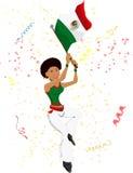 黑色风扇女孩墨西哥足球 免版税库存照片