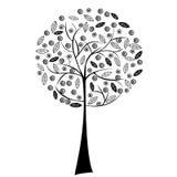 黑色风格化结构树 免版税库存图片
