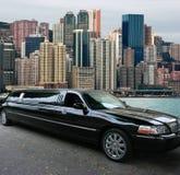 黑色香港大型高级轿车 库存图片