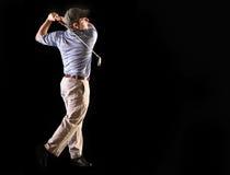 黑色高尔夫球查出的摇摆 库存照片