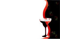 黑色鸡尾酒杯红色 免版税库存图片