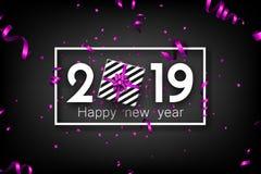 黑色2019与紫色顶视图礼物的新年好卡片 库存例证