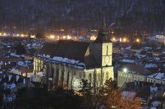 黑色brasov教会都市风景 库存图片