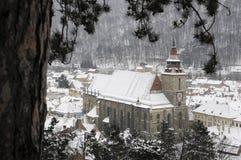 黑色brasov教会 图库摄影