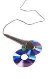 黑色CD的话筒 库存照片