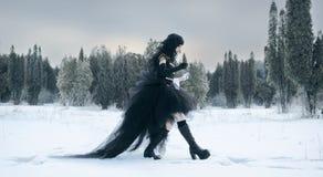 黑色cosplay女孩统一 免版税库存图片