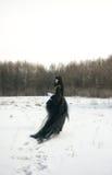 黑色cosplay礼服女孩统一 免版税图库摄影