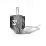 黑色dreidel透明白色 免版税库存图片