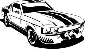 黑色Ford Mustang白色 免版税库存照片
