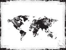黑色grunge映射世界 免版税库存照片