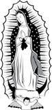 黑色guadalupe处女白色 库存图片
