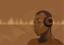 黑色musicwoman 免版税库存图片