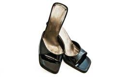 黑色s穿上鞋子妇女 图库摄影