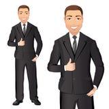 黑衣服的商人微笑并且显示赞许 免版税库存图片
