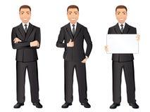 黑衣服的商人用不同的姿势 确信的英俊的人,全长,着装条例 图库摄影