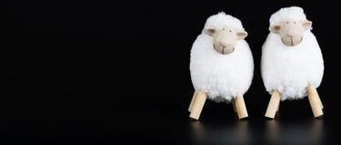 黑表面上的两只白色羊羔 库存图片