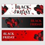 黑被设置的星期五销售水平的横幅 在白色和红色背景的飞行的光滑的气球 落的五彩纸屑和 皇族释放例证
