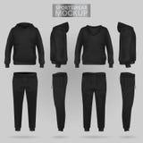 黑运动服有冠乌鸦和长裤的大模型在四个维度 皇族释放例证