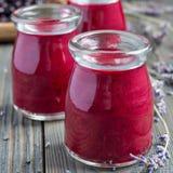 黑醋栗,希腊酸奶、蜂蜜和淡紫色圆滑的人在玻璃瓶子,方形的格式 图库摄影