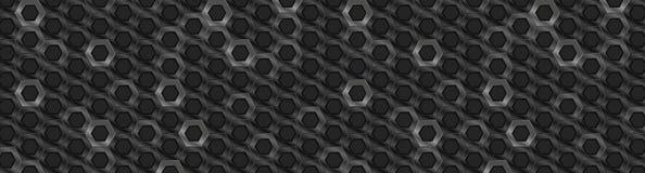 黑金属光滑的六角形抽象技术横幅 库存例证