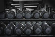 黑金属哑铃集合 结束在机架的许多金属哑铃在健身房 免版税库存照片