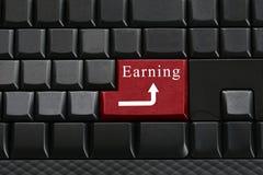 黑键盘键盘和安排文本收入进入按钮 免版税库存照片