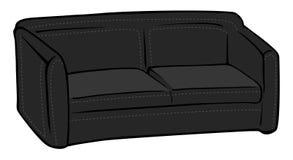 黑长沙发皮革 库存例证