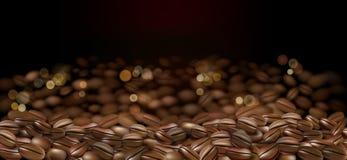 黑阿拉伯咖啡咖啡豆广告 3d咖啡背景的抽象例证您的设计的与bokeh 向量 库存例证