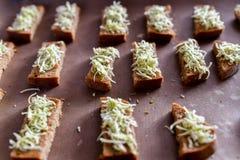 黑面包油煎方型小面包片,乳酪用香料 在火炉的多士 免版税库存图片