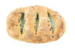 黑面包fougasse地中海橄榄 库存照片