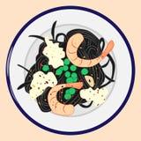 黑面团用虾、乳酪和绿豆,传染媒介例证 库存例证