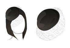 黑颜色头发和帽子 时装模特,训练的 皇族释放例证