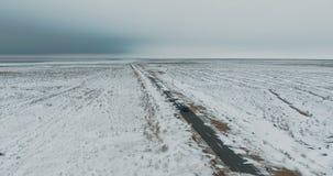 黑驾车在冬天乡下公路在多雪的森林里,从寄生虫的鸟瞰图 股票录像