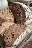 黑麦农厂酸面团一个美丽的大面包是手工制造的 特写镜头 免版税库存照片